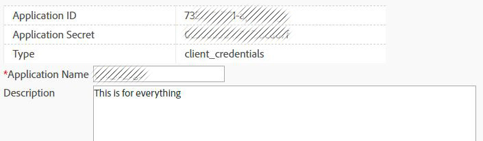 Credential for application